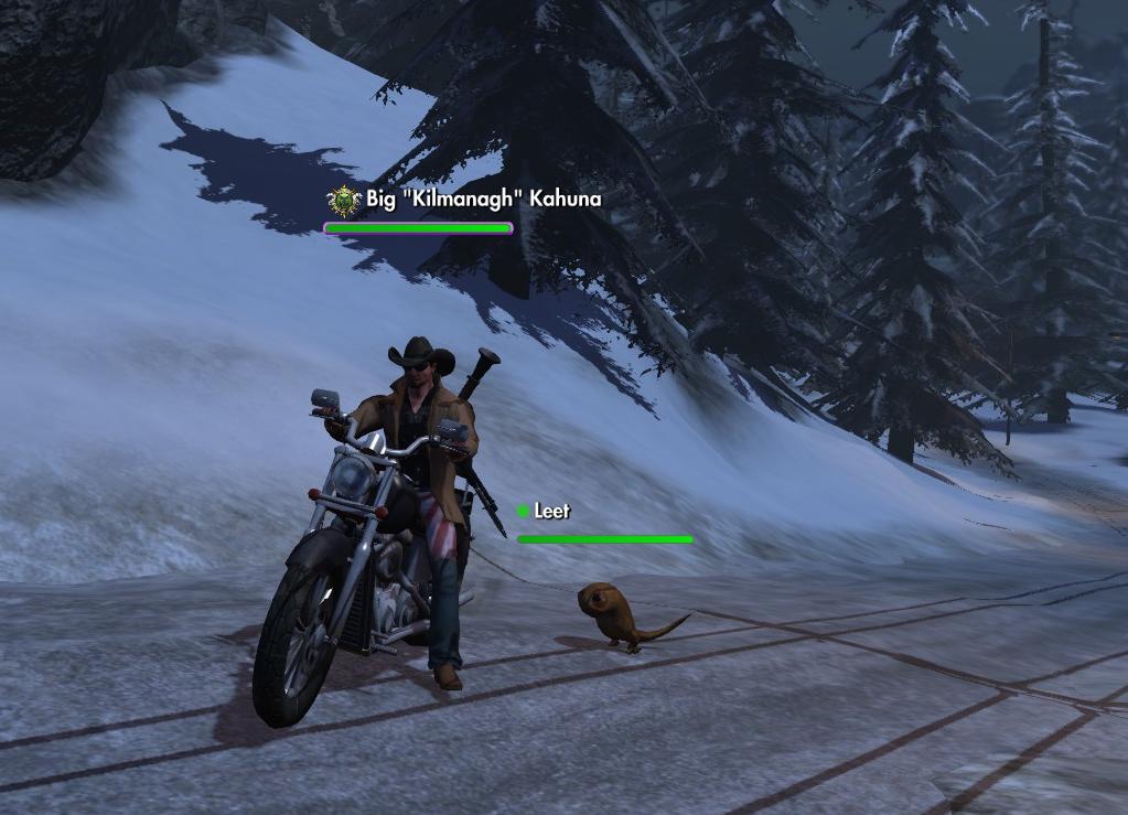 Cowboy on Harley in Winter